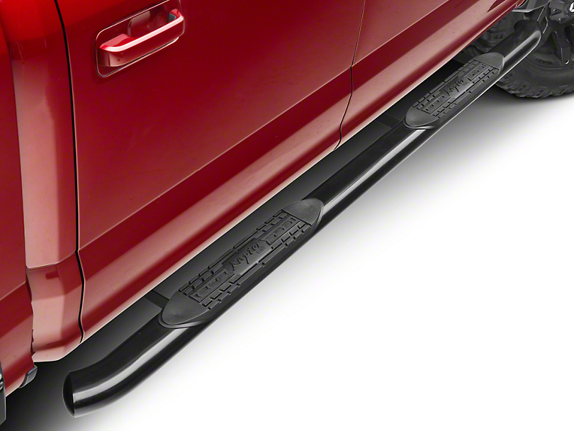 Raptor Series 4 in. OE Style Curved Oval Side Step Bars - Black (15-18 F-150)