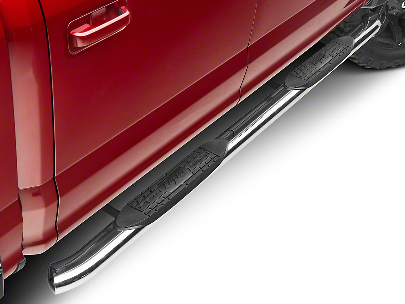 Raptor Series 4 in. OE Style Curved Oval Side Step Bars - Polished Stainless (15-18 F-150)