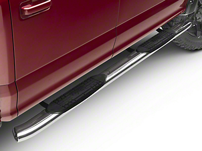 Raptor Series 5 in. OE Style Curved Oval Side Step Bars - Polished Stainless (15-17 SuperCab, SuperCrew)