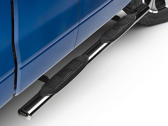 Raptor Series 4 in. Magnum Straight Oval Side Step Bars - Polished Stainless (09-14 F-150)