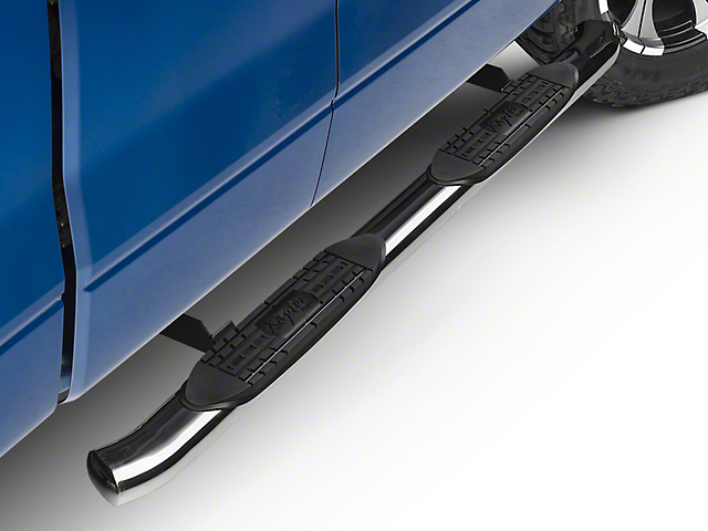 Raptor Series 4 in. OE Style Curved Oval Side Step Bars - Polished Stainless (09-14 All)