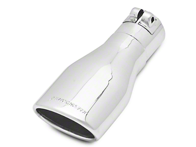 Flowmaster 3.0 in. Oval Angle Cut Exhaust Tip - Polished Stainless - 2.5 in. Connection (97-18 All)