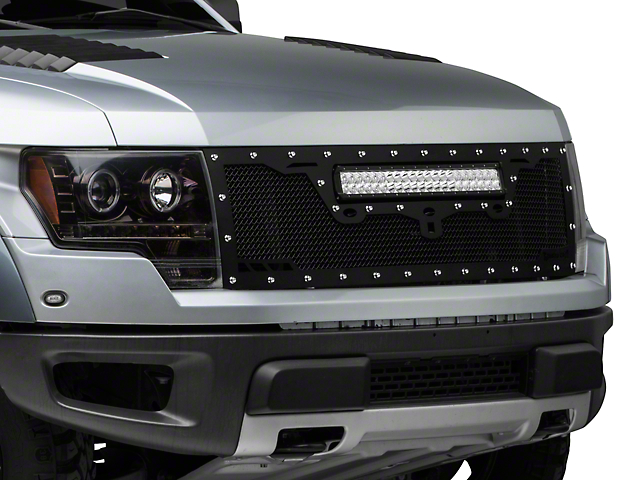 Royalty Core RCRX Race Line Upper Replacement Grille w/ 23 in. LED Light Bar - Satin Black (10-14 Raptor)