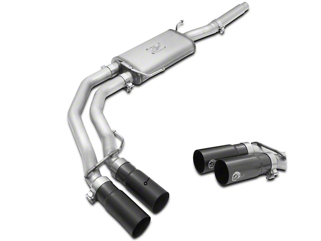 AFE Rebel Series 3 in. to 2.5 in. Dual Exhaust System w/ Black Tips - Middle Side Exit (04-08 4.6L F-150)