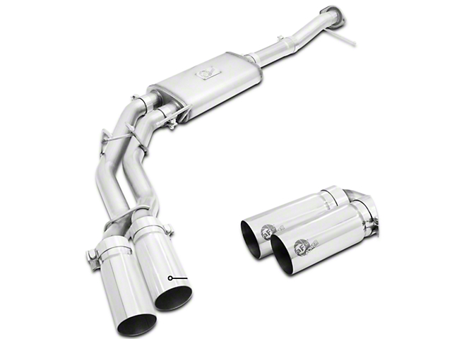 AFE Rebel Series 3 in. to 2.5 in. Dual Exhaust System w/ Polished Tips - Middle Side Exit (09-10 4.6L)