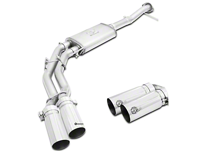 AFE Rebel Series 3 in. to 2.5 in. Dual Exhaust System w/ Polished Tips - Middle Side Exit (09-10 4.6L F-150)