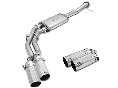 AFE Rebel Series 3 in. to 2.5 in. Dual Exhaust System w/ Polished Tips - Middle Side Exit (11-14 5.0L)