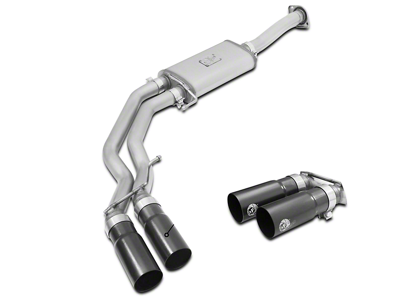 AFE Rebel Series 3 in. to 2.5 in. Cat-Back Exhaust w/ Black Tips - Middle Side Exit (15-17 2.7L EcoBoost)