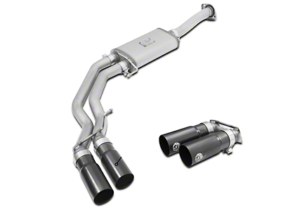 AFE Rebel Series 3 in. to 2.5 in. Dual Exhaust System w/ Black Tips - Middle Side Exit (15-18 2.7L EcoBoost)