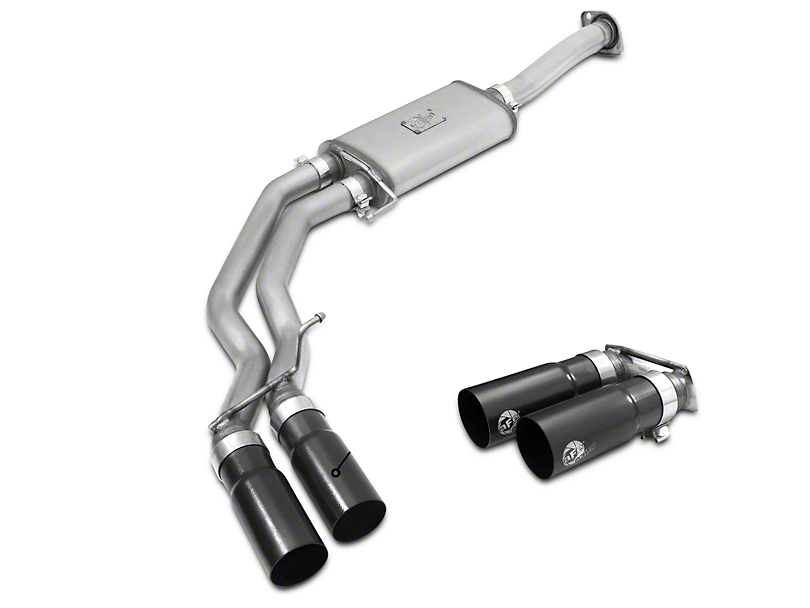 AFE Rebel Series 3 in. to 2.5 in. Cat-Back Exhaust w/ Black Tips - Middle Side Exit (15-17 5.0L)