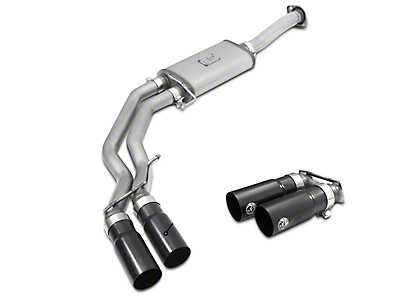 AFE Rebel Series 3 in. to 2.5 in. Cat-Back Exhaust w/ Black Tips - Middle Side Exit (15-18 5.0L)