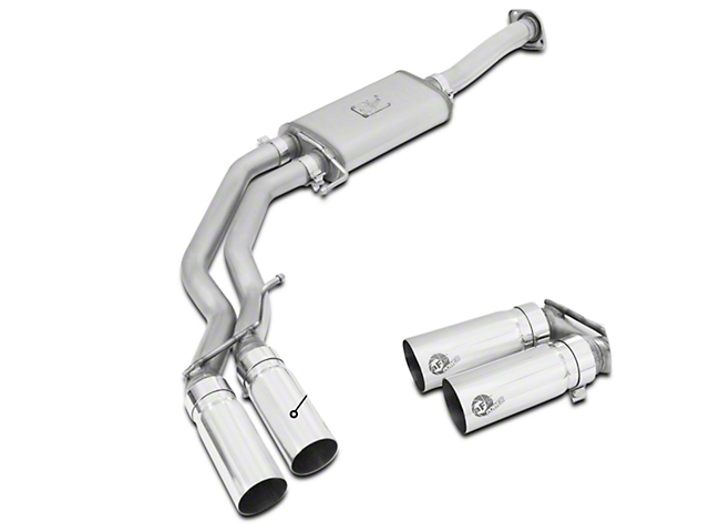 AFE Rebel Series 3 in. to 2.5 in. Cat-Back Exhaust w/ Polished Tips - Middle Side Exit (15-17 2.7L EcoBoost)