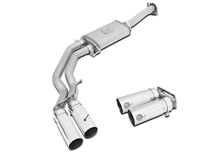 AFE Rebel Series 3 in. to 2.5 in. Dual Exhaust System w/ Polished Tips - Middle Side Exit (15-18 2.7L EcoBoost)