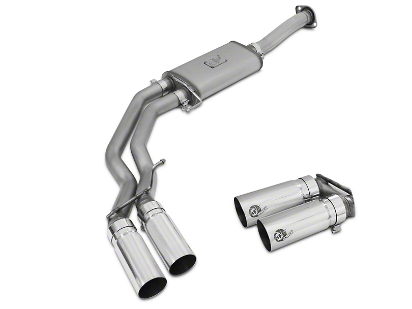 AFE Rebel Series 3 in. to 2.5 in. Cat-Back Exhaust w/ Polished Tips - Middle Side Exit (15-18 5.0L)