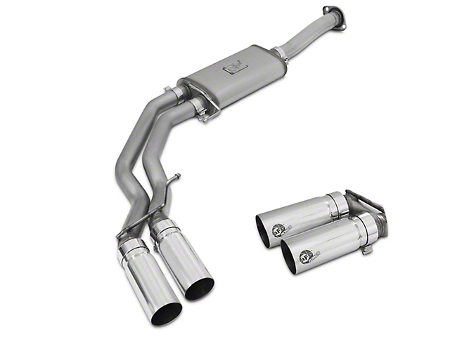 AFE Rebel Series 3 in. to 2.5 in. Dual Exhaust System w/ Polished Tips - Middle Side Exit (15-18 5.0L)