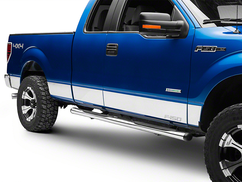 Putco Stainless Steel Rocker Panels w/ F-150 Logo (09-14 SuperCab w/ 6.5 ft. Bed, SuperCrew)