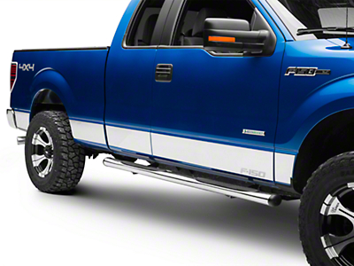 Putco Stainless Steel Rocker Panels w/ F-150 Logo (09-14 SuperCab w/ 6.5 ft. Bed - w/o OEM Fender Flares)
