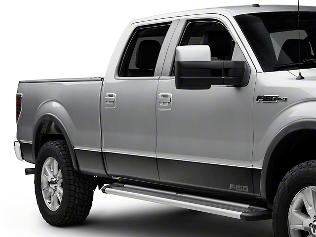 Putco Black Platinum Rocker Panels w/ F-150 Logo (09-14 F-150 SuperCab w/ 6.5 ft. Bed, SuperCrew)