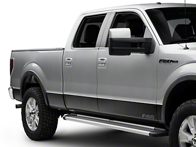 Putco Black Platinum Rocker Panels w/ F-150 Logo (09-14 SuperCrew w/ 6.5 ft. Bed - w/ OEM Fender Flares)