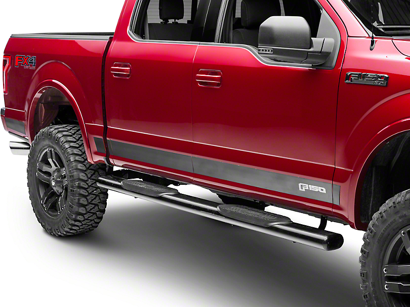 Putco Black Platinum Rocker Panels w/ F-150 Logo (15-18 SuperCab w/ 6.5 ft. Bed, SuperCrew)