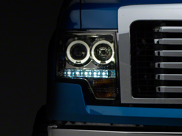 Axial Smoked Projector Headlights w/ LED Halo (09-14 w/o Factory HID)