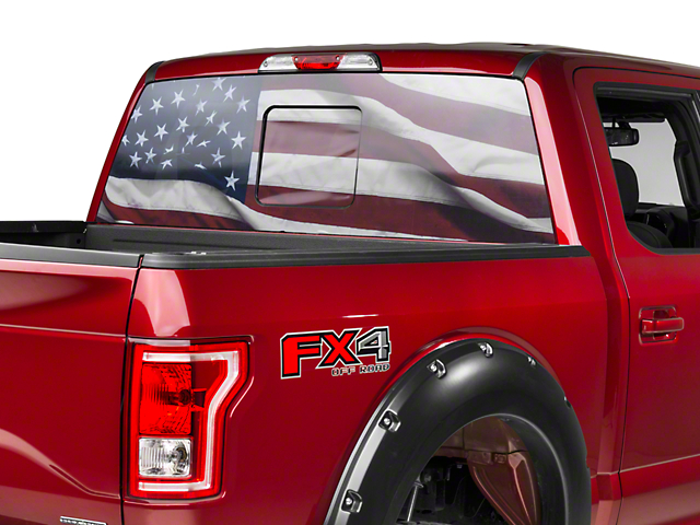 Perforated real flag rear window decal 97 18 f 150