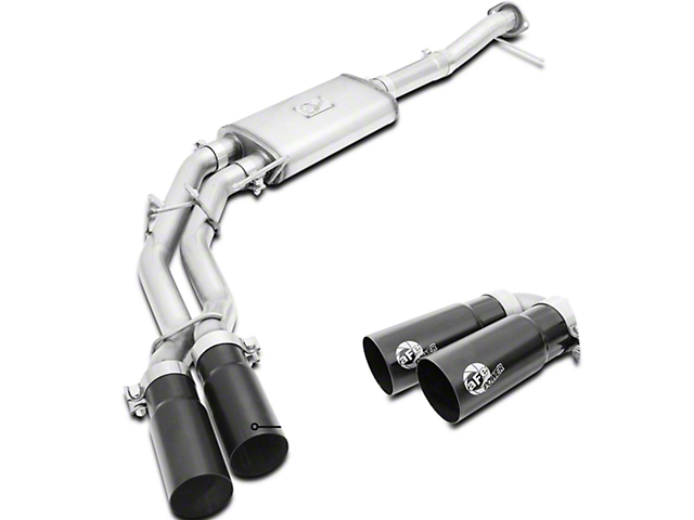 AFE Rebel Series 3 in. to 2.5 in. Dual Exhaust System w/ Black Tips - Middle Side Exit (09-10 4.6L F-150)