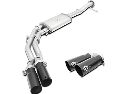 AFE Rebel Series 3 into 2.5 in. Dual Exhaust System w/ Black Tips - Middle Side Exit (09-10 4.6L)