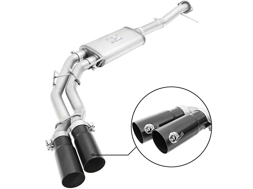 AFE Rebel Series 3 into 2.5 in. Dual Exhaust System w/ Black Tips - Middle Side Exit (09-10 5.4L, Excluding Raptor)