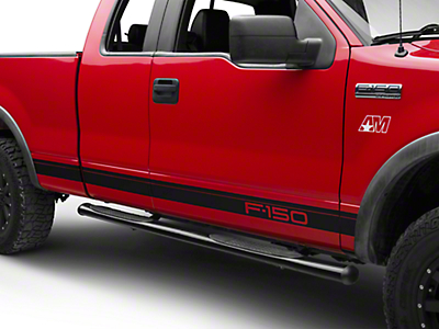 Matte Black Rocker Stripes w/ F-150 Logo (04-08 F-150)