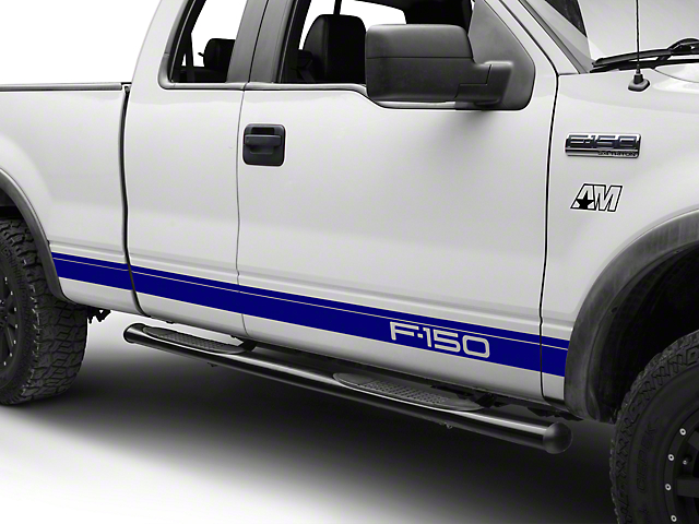 American Muscle Graphics Blue Rocker Stripes w/ F-150 Logo (04-08 All)