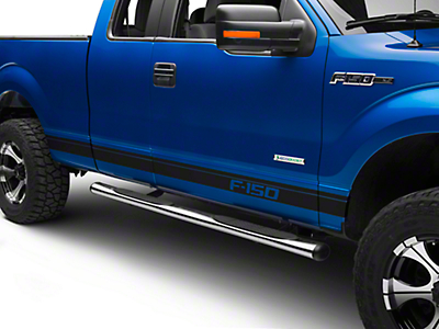 American Muscle Graphics Matte Black Rocker Stripes w/ F-150 Logo (09-14 All)