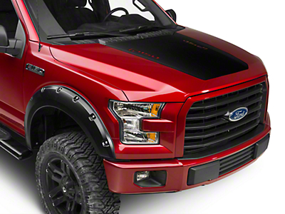 American Muscle Graphics Matte Black Hood Decal w/ F-150 Logo (15-18 All, Excluding Raptor)