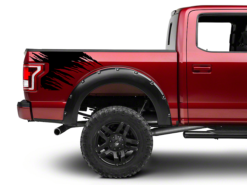 Black Shredded Rear Bed Accent Decal (15-18 F-150)