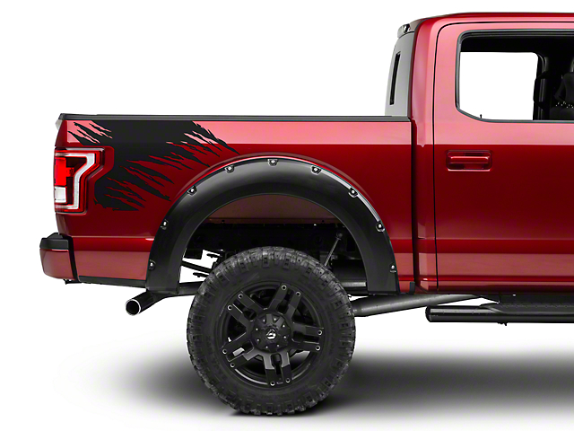 Matte Black Shredded Rear Bed Accent Decal (15-18 F-150)