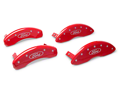 MGP Red Caliper Covers w/ Ford Oval Logo - Front & Rear (09-18 All)