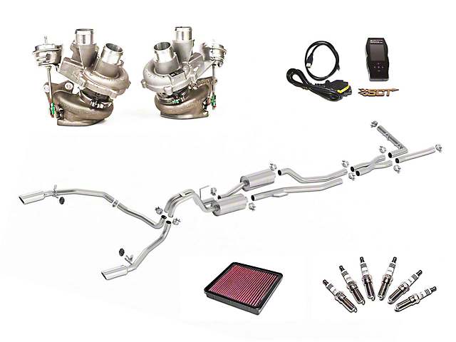 Borla True Dual Stinger S-Type Cat-Back System & BorgWarner Turbo Upgrade Kit - Split Rear Exit (11-12 3.5L EcoBoost)