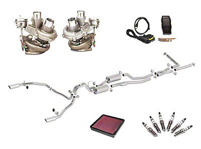 Borla True Dual Stinger S-Type Cat-Back System & BorgWarner Turbo Upgrade Kit - Split Rear Exit (13-14 3.5L EcoBoost)