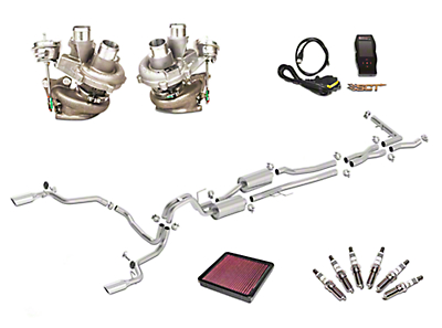 Borla True Dual Stinger S-Type Cat-Back System & BorgWarner Turbo Upgrade Kit - Split Rear Exit (15-16 3.5L EcoBoost)