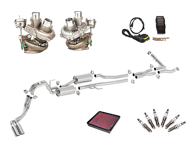 Borla True Dual Stinger S-Type Exhaust System & BorgWarner Turbo Upgrade Kit - Same Side Exit (15-16 3.5L EcoBoost F-150)
