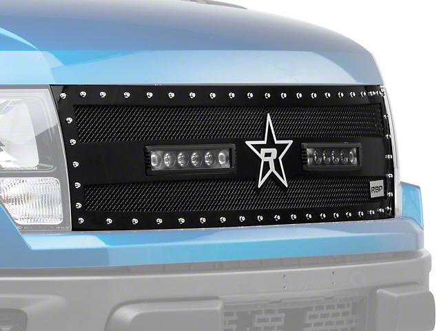 RBP RX-3 Midnight Edition Studded Frame Upper Grille Insert w/ LEDs - Black (10-14 F-150 Raptor)