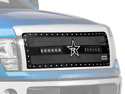 RBP RX-3 Midnight Edition Studded Frame Upper Grille Insert w/ LEDs - Black (09-14 All, Excluding Raptor & Harley Davidson)