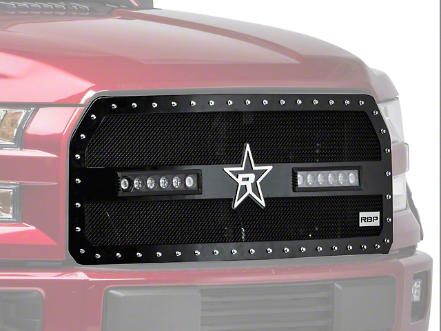RBP RX-3 Midnight Edition Studded Frame Upper Replacement Grille w/ LEDs - Black (15-17 F-150, Excluding Raptor)