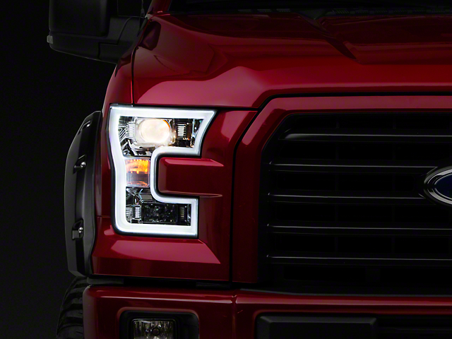 Axial Chrome Projector Headlights w/ LED DRL (15-17 F-150 w/ Halogen Headlights)