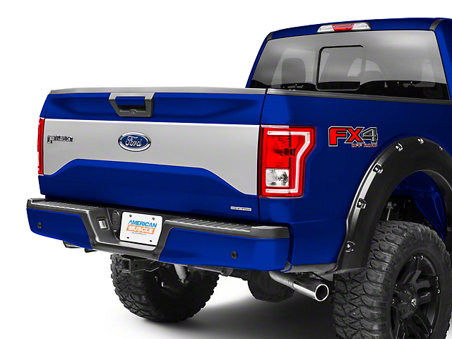 American Muscle Graphics Silver Tailgate Panel Decal (15-17 w/o Tailgate Applique)
