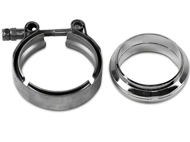 GMS 2.5 in. Mating Flat Flange w/ V-Band Exhaust Clamp - Stainless Steel (97-18 All)