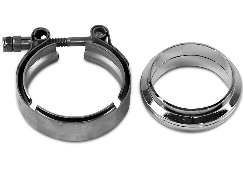 GMS 2.5 in. Mating Flat Flange w/ V-Band Exhaust Clamp - Mild Steel (97-17 All)