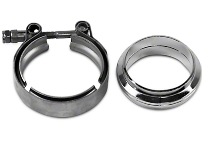 GMS 2.5 in. Mating Flat Flange w/ V-Band Exhaust Clamp - Mild Steel (97-18 All)