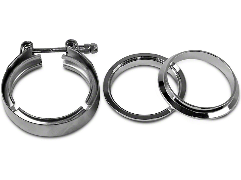 GMS 3 in. Mating Male to Female Interlocking Flange w/ V-Band Exhaust Clamp - Stainless Steel (97-19 F-150)