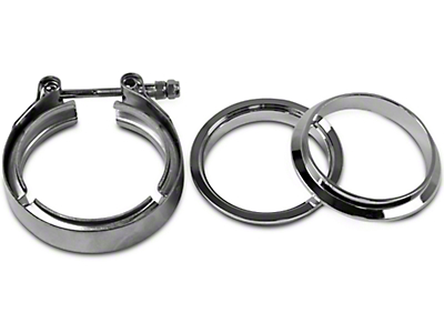 GMS 3 in. Mating Male to Female Interlocking Flange w/ V-Band Exhaust Clamp - Stainless Steel (97-17 All)